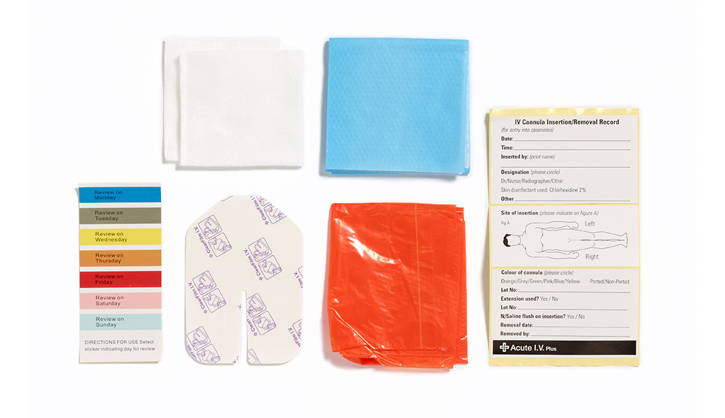 Acute I.V. Plus pack contains of ClearFilm IV dressing, 2 softswabs, tray, clinisheet.
