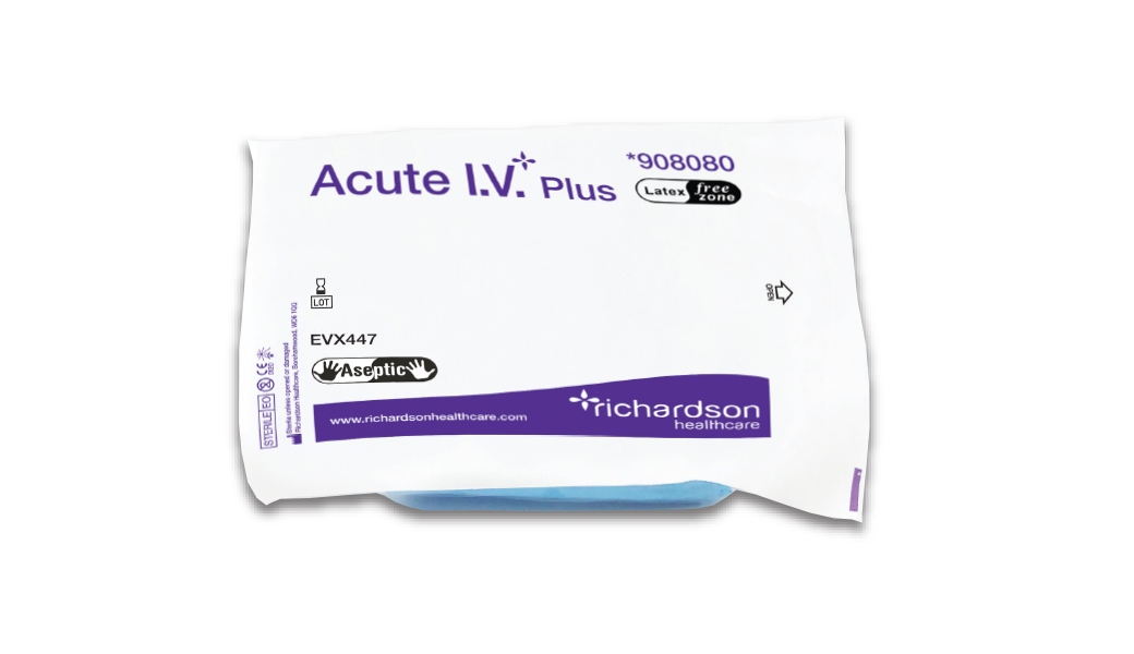 Acute I.V. aseptic cannula pack pouch.