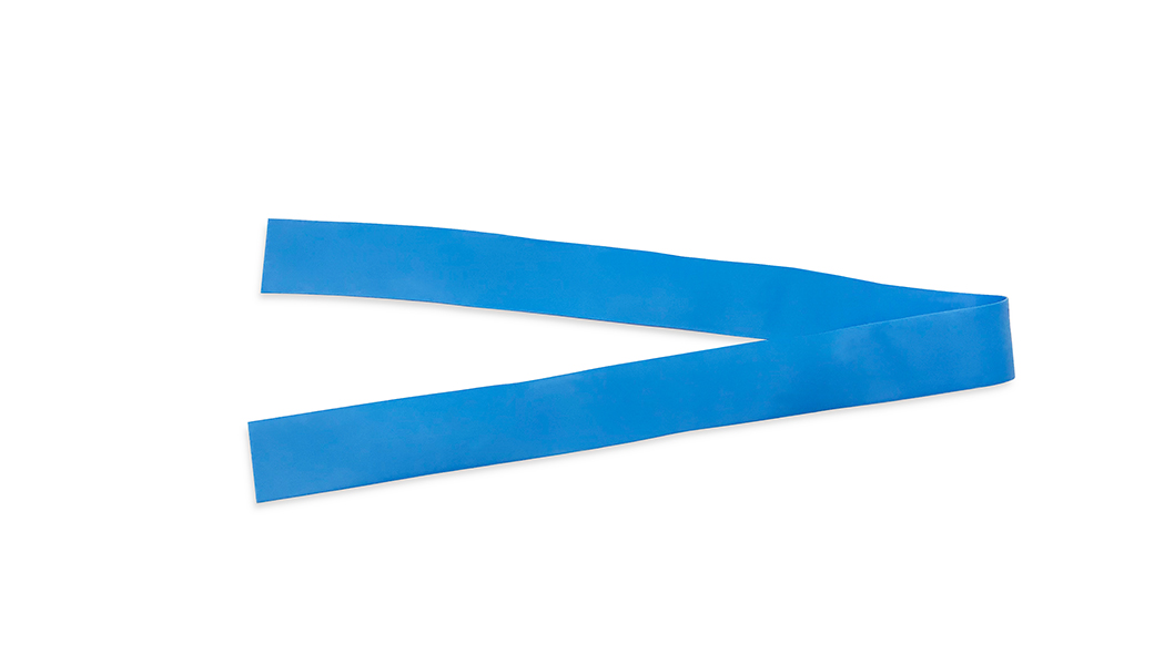 Shoot form above of blue V-Grip tourniquet.