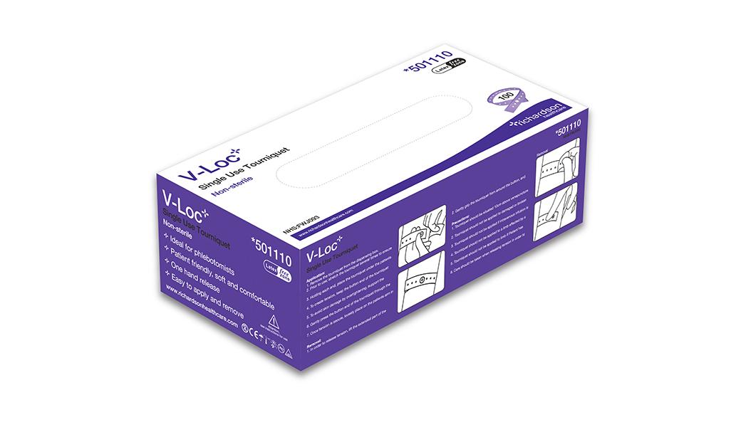 V-Loc single use tourniquet box.