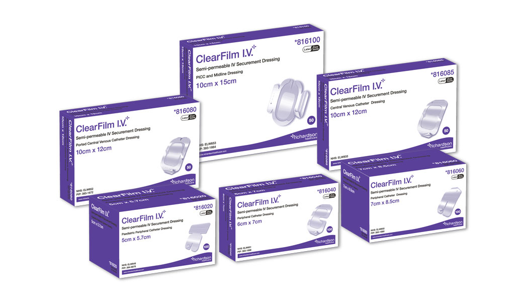 6 boxes of ClearFilm IV Transparent Film IV Dressings.