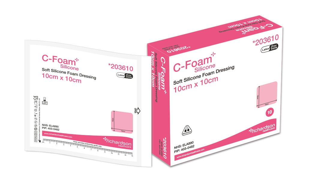 C-Foam Silicone dressing box and pouch.