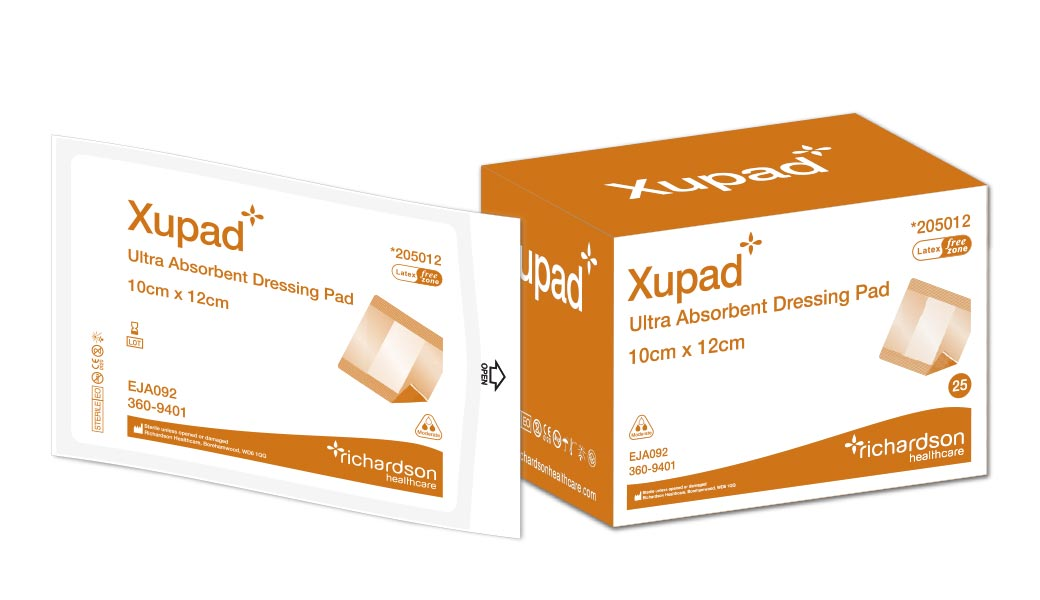 Box and pouch of Xupad, ultra absorbent dressing pad.